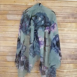 Accessories - Blue Floral Women's Fashion Scarf